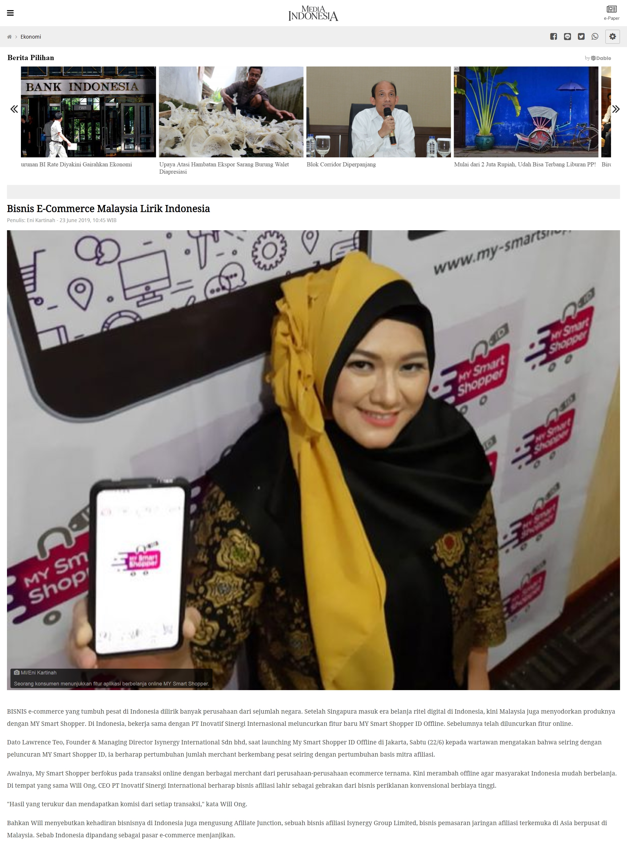 MediaIndonesia_BisnisECommerceMalaysiaLirikIndonesia_23June2019